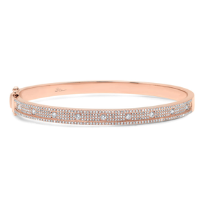 14K Rose Gold Pave Diamond Bangle