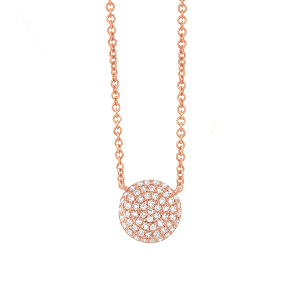 14K Yellow Gold Pave Diamond Disc Necklace