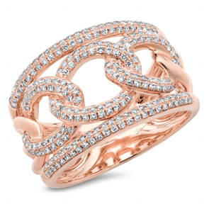 14K Rose Gold Pave Diamond Link Ring