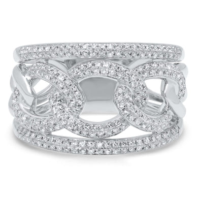 14K White Gold Pave Diamond Link Ring