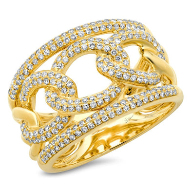 14K Yellow Gold Pave Diamond Link Ring
