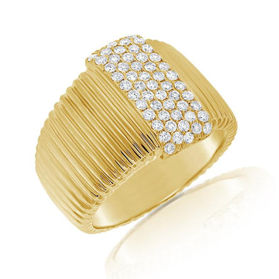 14K Yellow Gold Pave Diamond Ribbed Ring