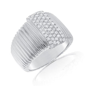 14K White Gold Pave Diamond Ribbed Ring