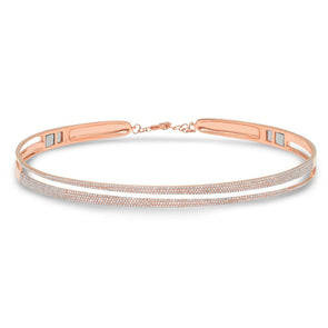 14K Rose Gold Pave Diamond Split Choker Necklace