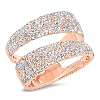 14K Rose Gold Pave Diamond Split Ring