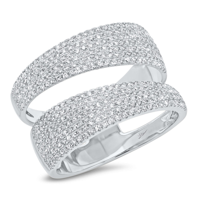 14K White Gold Pave Diamond Split Ring