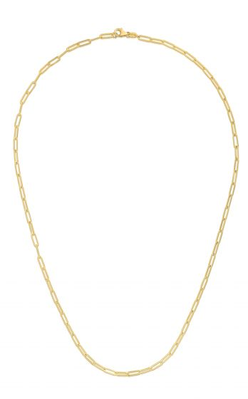 14k Yellow Gold 2.5mm Polished Paperclip Chain Necklace