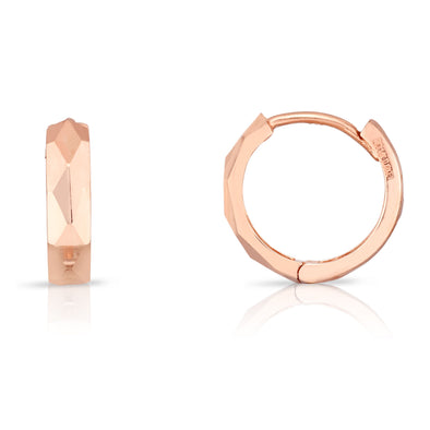 14k Rose Gold Diamond Cut Polished Huggie Earrings
