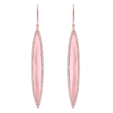 14K Rose Gold Pink Quartz Drop Earring