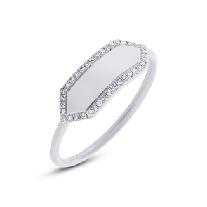 White Gold 14K Polished Diamond Hexagon Engravable Ring