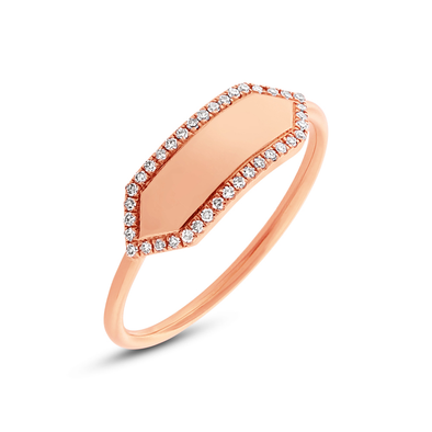 14K Rose Gold Polished Diamond Hexagon Engravable Ring