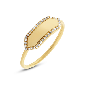 Yellow Gold 14K Polished Diamond Hexagon Engravable Ring