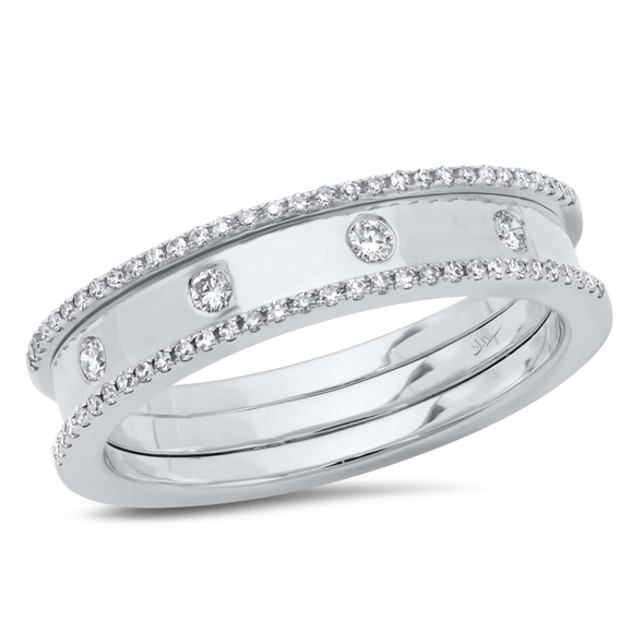 14K White Gold Polished Diamond Ring