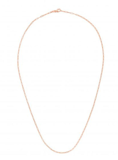 14k Rose Gold 1.5mm Polished Paperclip Chain Necklace