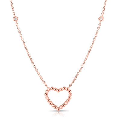 14K Rose Gold Beaded Heart Diamonds by the Yard Necklace