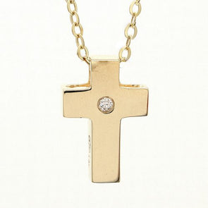 14K Yellow Gold Cross With Diamond Necklace