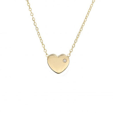 14K Yellow Gold Heart With Diamond Necklace