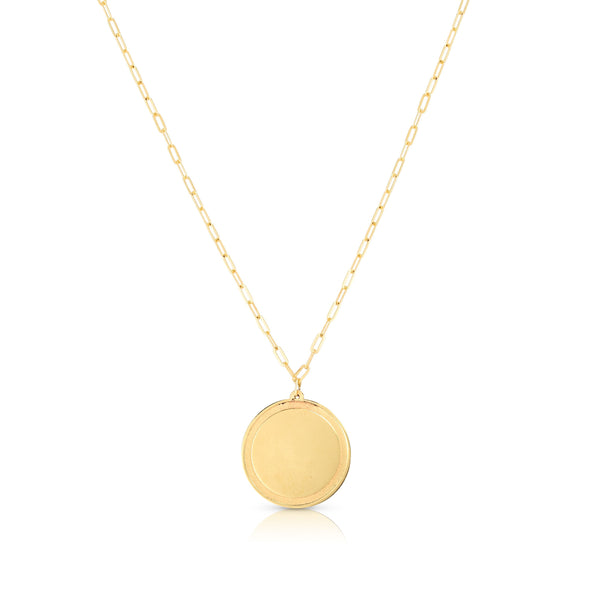 14K Yellow Gold Engraveable Disc Necklace