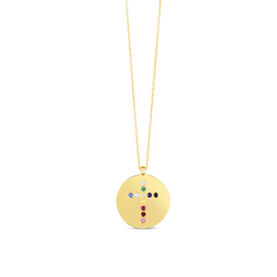 14K Yellow Gold Gemstone Rainbow cross Medallion Necklace