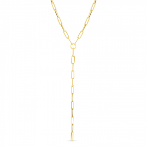 14K Yellow Lariat Paperclip Y-Necklace