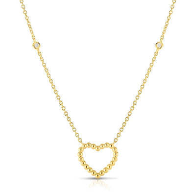 14K Yellow Gold Beaded Heart Diamonds by the Yard Necklace