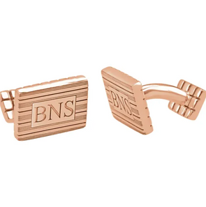 Rose Gold Plated Sterling Silver 3-Letter Serif Monogram Rectangle Cuff Links