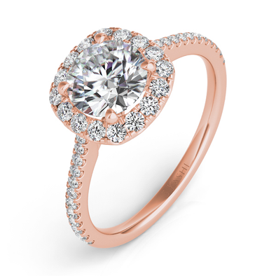 14K Rose Gold Rose Gold Cushion Halo Mounting