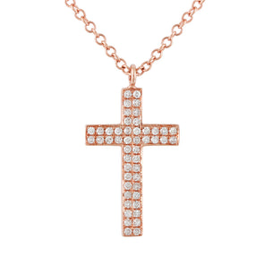 14K Rose Gold Diamond Double Row Cross Necklace