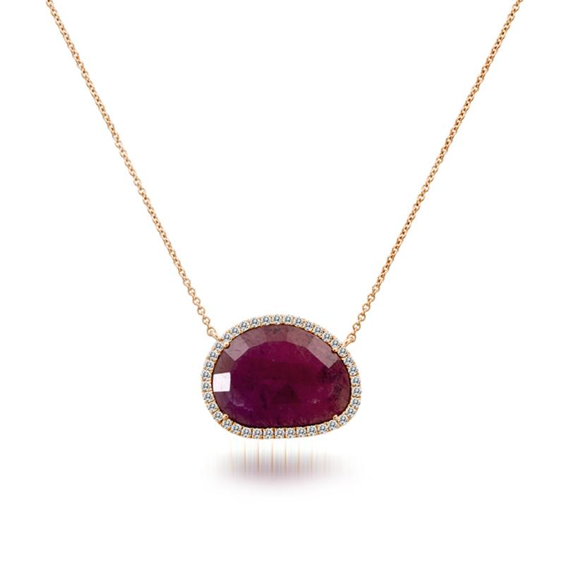 Rough Cut Ruby Slice Necklace