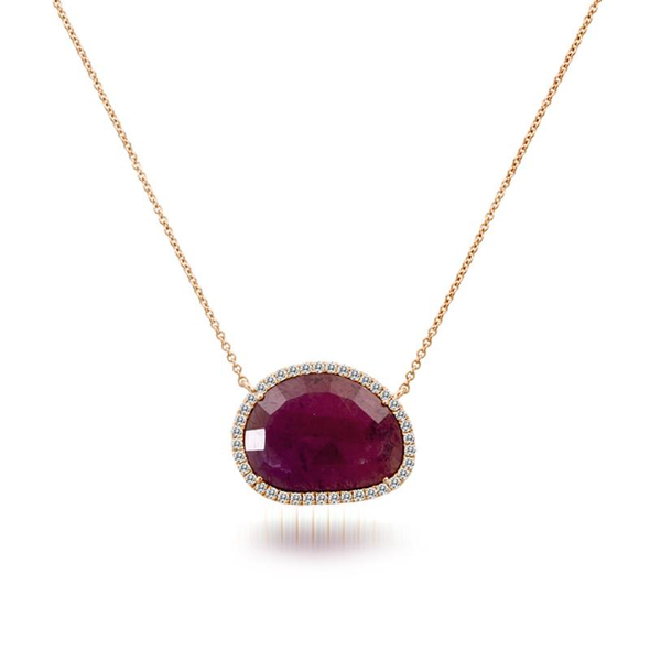14K Rose Gold Rough Cut Ruby Slice Necklace