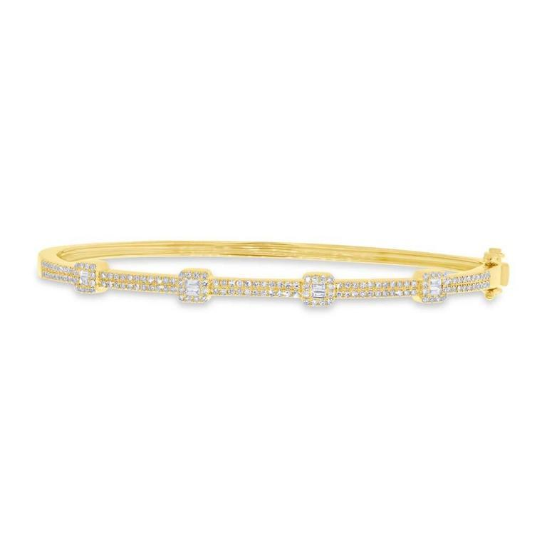Round and Baguette Diamond Bangle