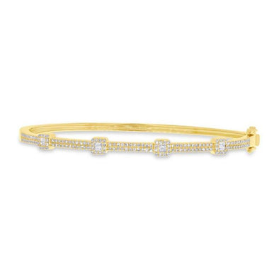14K Yellow Gold Round and Baguette Diamond Bangle