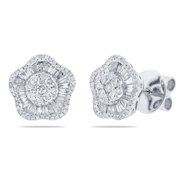 Round and Baguette Diamond Flower Earrings
