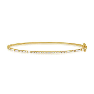 14K Yellow Gold Round and Baguette Diamond Hinged Bangle
