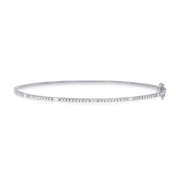 Round and Baguette Diamond Single Row Hinged Bangle