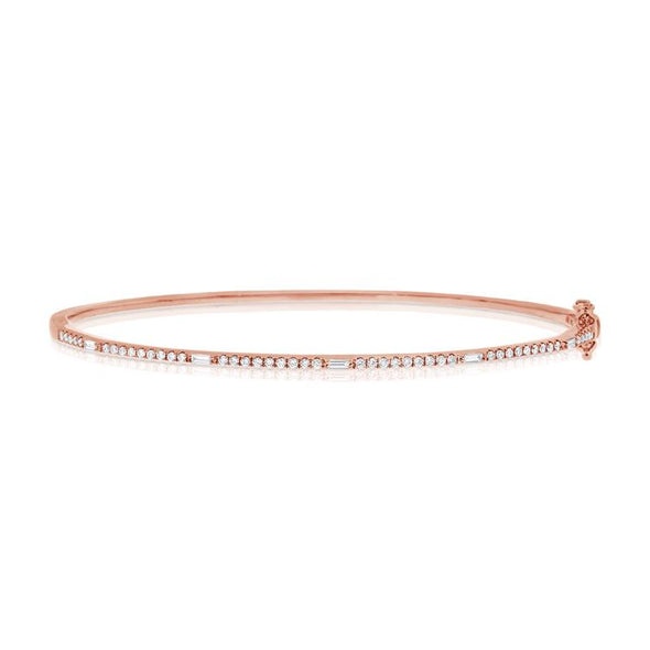 14K Rose Gold Round and Baguette Diamond Hinged Bangle
