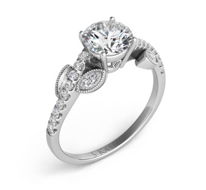 14K White Gold Round and Marquise Leaf Diamond Design Mounting