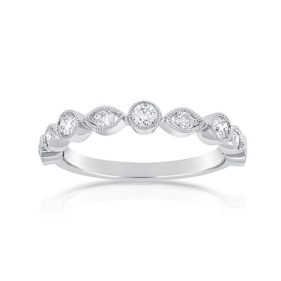 14K White Gold Round Diamond and Marquise Shape Band