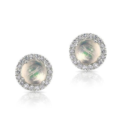 Round Diamond and Opal Stud Earrings