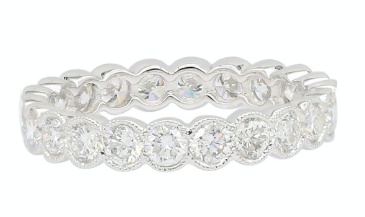 14K White Gold Round Diamond Bezel Migrain Eternity Band