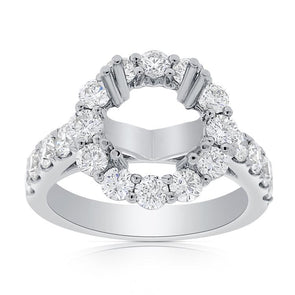 14K White Gold Round Diamond Halo Cathedral Mounting