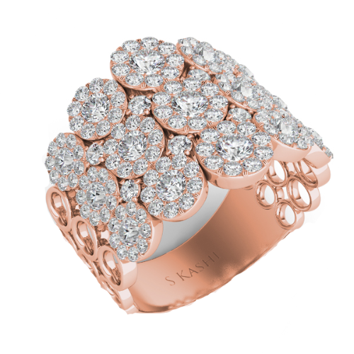 14K Rose Gold Round Diamond Multi-Halo Fashion Ring