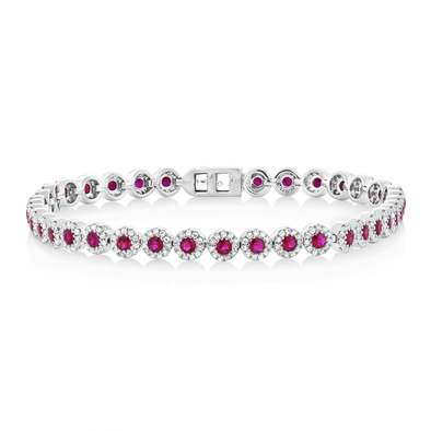 14K White Gold Ruby and Diamond Tennis Bracelet