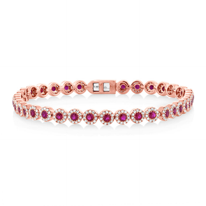 14K Rose Gold Ruby and Diamond Tennis Bracelet