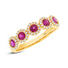 14K Yellow Gold Ruby Diamond Halo Band