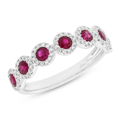 14K White Gold Ruby Diamond Halo Band