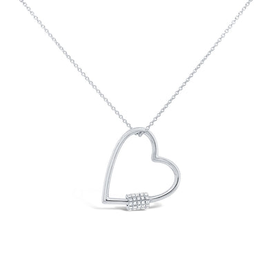14K White Gold Diamond Heart Charm Holder Necklace