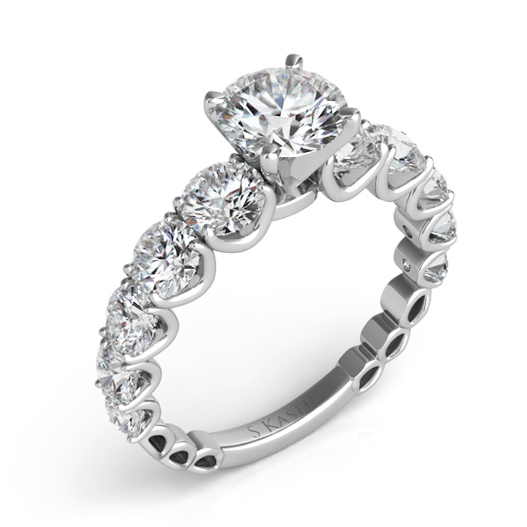 14K White Gold Scalloped Round Diamond Semi-Mount