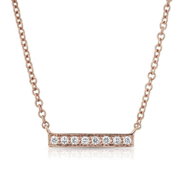 14K White Gold Short Diamond Bar Necklace