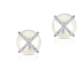14K White Gold Diamond X + Pearl Earrings